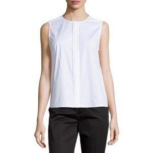 J Brand Sleeveless Concealed Placket Blouse White